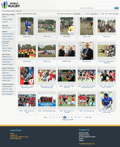 World Rugby using iBase Image and Video Online Library Software