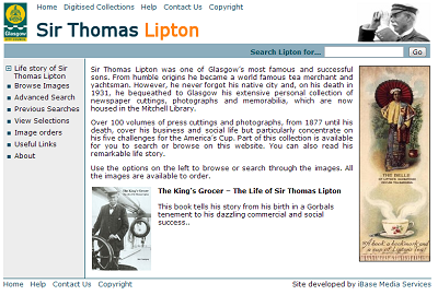 Glasgow City Libraries, Sir Thomas Lipton using iBase Picture Library Software