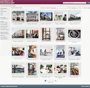 University of Westminster Image Library using iBase Trinity
